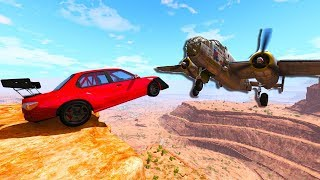 CARS VS PLANES MID AIR CRASHES AND TAKEDOWNS BeamNG