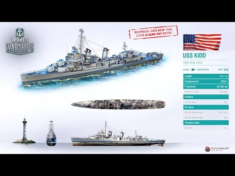 Stats of USS Kidd and French Cruiser De Grasse