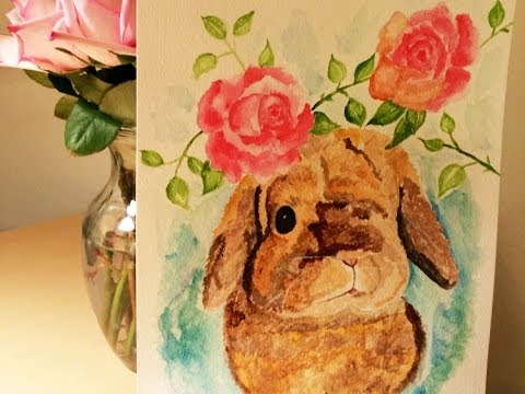 Watercolor Tutorial: Bunny and Roses, Acrylic Paint Technique| Romantic-idea.com