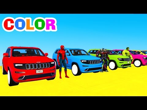 Thumbnail: Learn COLORS w SUV CARS Transportation in Spiderman Cartoon Superheroes for Kids and Color Bus