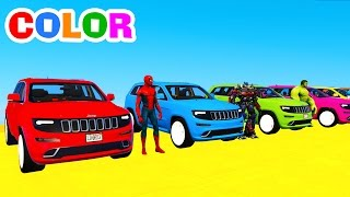 Learn COLORS w SUV CARS Transportation in Spiderman Cartoon Superheroes for Kids and Color Bus
