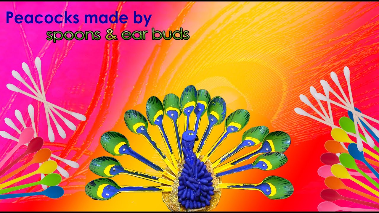 diy how to make a peacock from spoon and cotton buds crafts duh