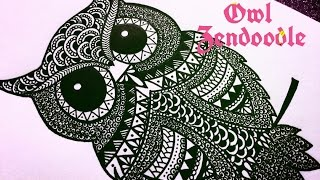 Zendoodle - Zentangle Inspired Owl ( Timelapse ) | Karthika Loves DIY