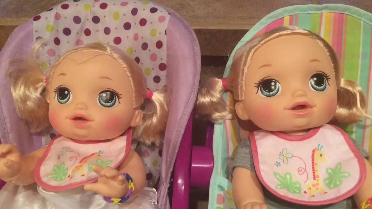 Baby Alive Go Bye Bye twins feeding Peas and Juice - YouTube