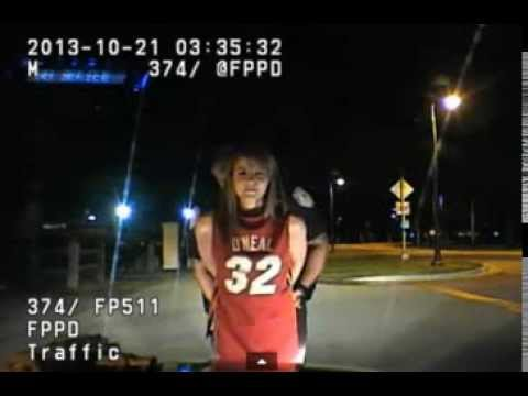Half-Dressed Woman fails DUI Road-Side Sobriety Test