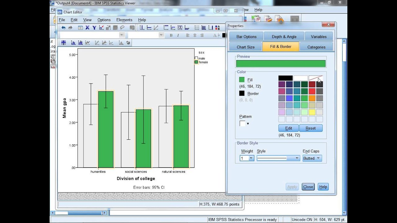 How to create a simple clustered bar chart in spss youtube for Find a builder