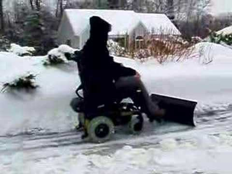 Quadriplegic Plowing Snow With His Wheelchair Youtube