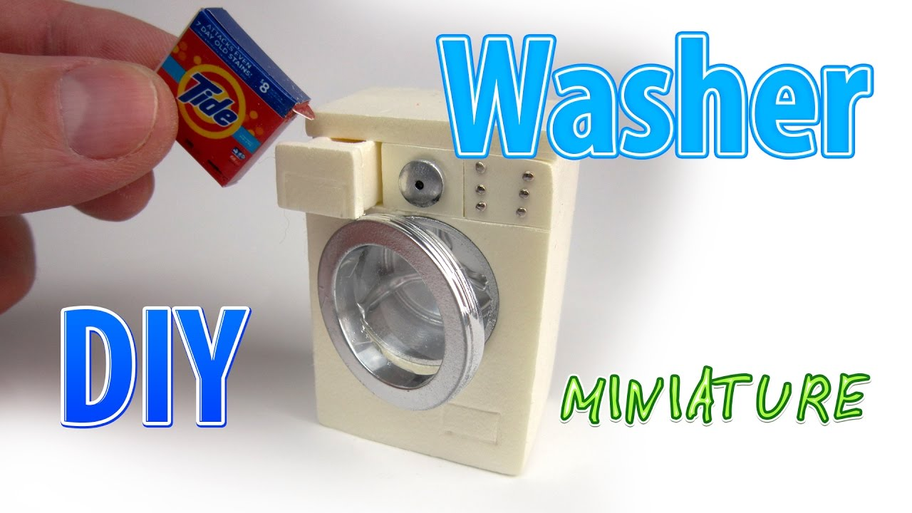 diy realistic miniature washer | dollhouse | no polymer clay