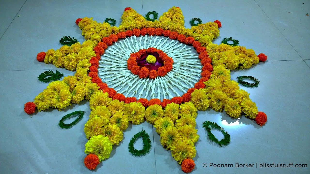 Special rangoli design with marigold flowers how to make rangoli