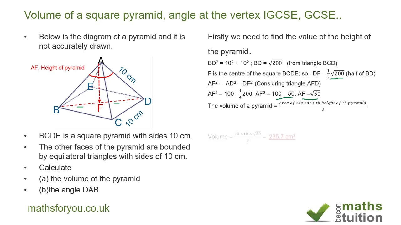 Volume of a square pyramid angle at the vertex igcse gcse youtube volume of a square pyramid angle at the vertex igcse gcse ccuart Choice Image