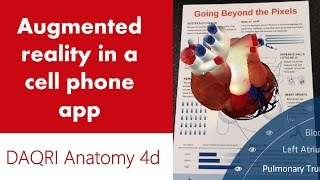 Phone app shows 3d augmented reality model of human heart, body