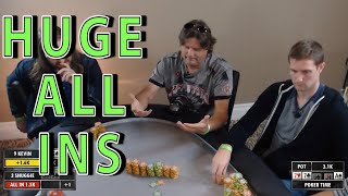 Poker Time: Huge ALL IN bets playing $5-10 with Andrew Neeme and Brad Owen