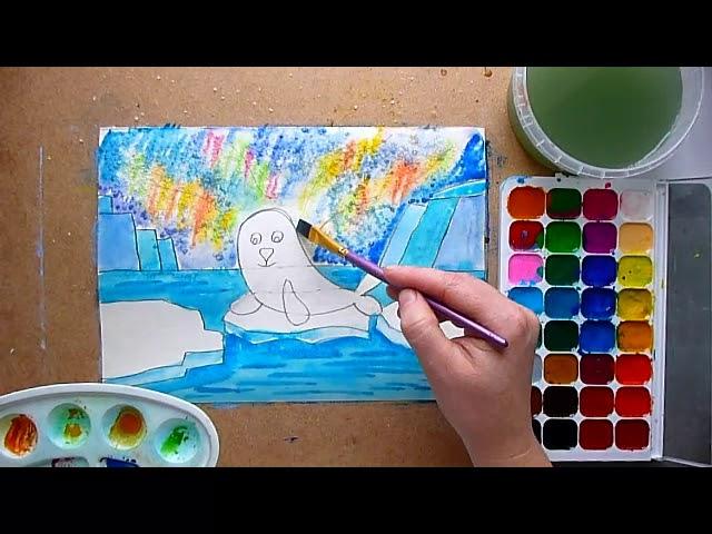 3 клас. Мистецтво. Тема: Дива природи Півночі. Малюємо нерп на тлі північного сяйва