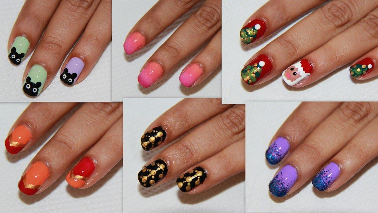6 Easy Nail Art For Beginners! | DIY Nail Design - YouTube