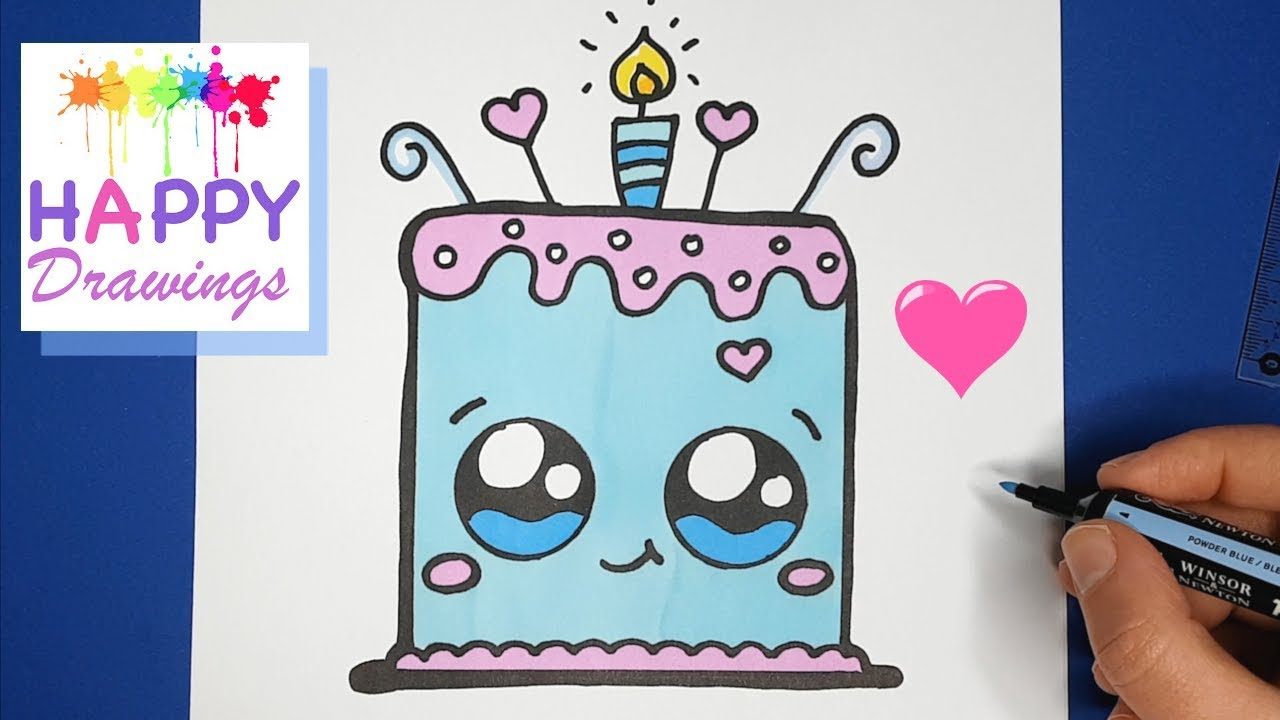 How To Draw A Cartoon Birthday Celebration Cake Cute And Easy Happy Drawings Youtube