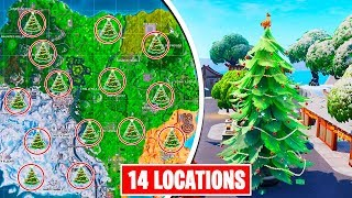 Dance in front of different HOLIDAY TREES all LOCATIONS - fortnite Christmas tree locations