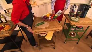 Temp-tations Old World Bamboo Top Folding Kitchen Cart With Alberti Popaj