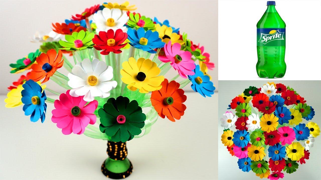 How to make Easy flower vase with plastic bottle - WASTE PLASTIC BOTTLE GULDASTA AT HOME #1