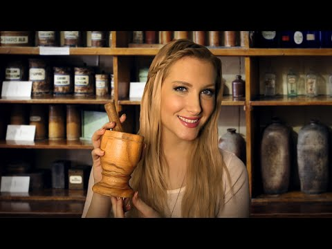 🌾 The Herb Shoppe 🌾 Binaural ASMR Role Play (Mortar & Pestle, Sage Smudging, Pouring, Crinkling)