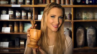 the herb shoppe binaural asmr role play mortar pestle sage smudging pouring crinkling
