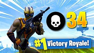**34 KILLS SOLO** Squads GAMEPLAY!! (Fortnite: Battle Royale HIGH KILL Gameplay)