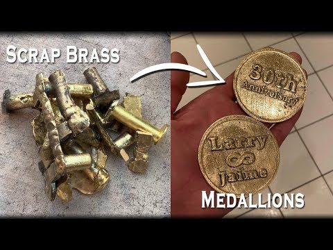 Melting Scrap Brass Into Beautiful Medallions - An Anniversary Gift Melt