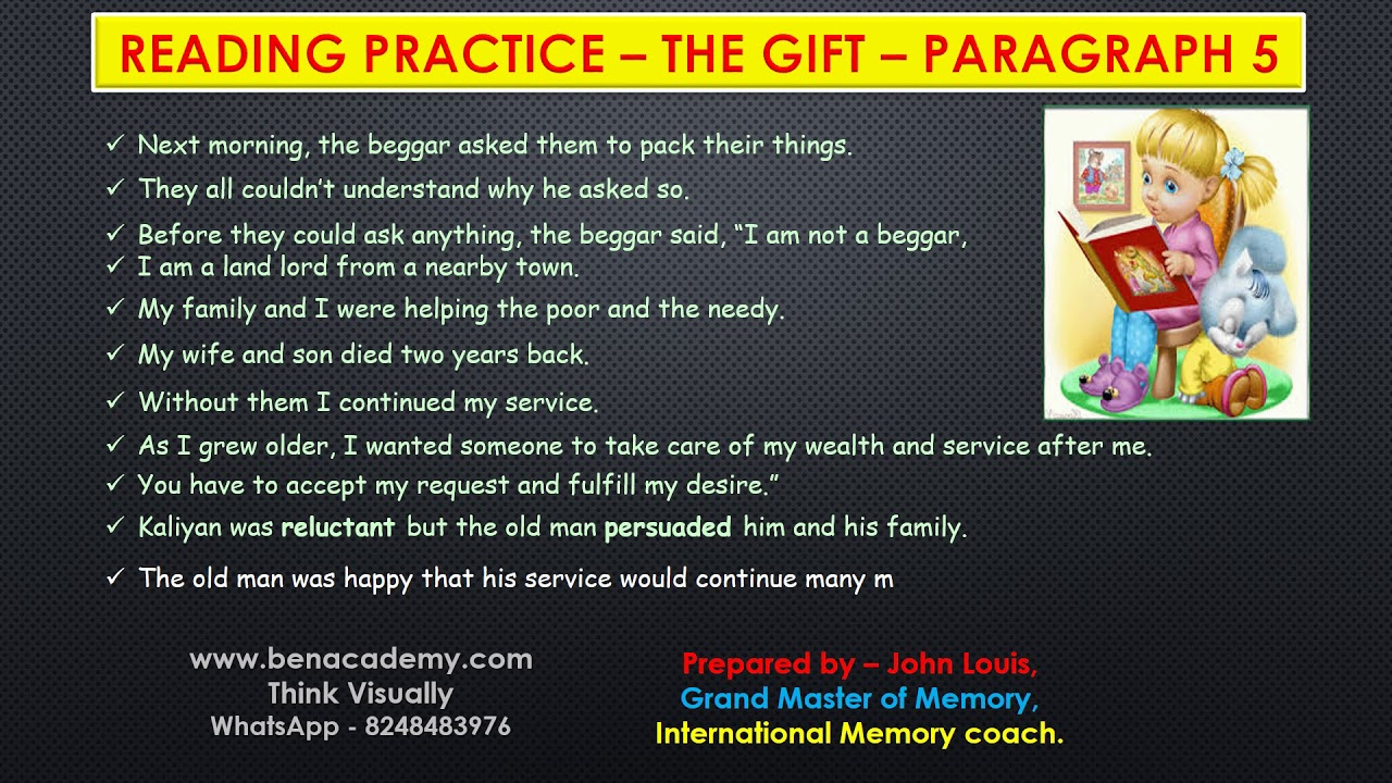 - 5th STD English Term 2 Reading Practice The Gift Paragraph 5 Page