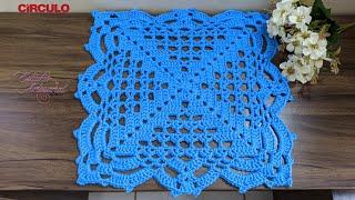 Sousplat de crochê   modelo quadrado   Crochet tutorial stitches