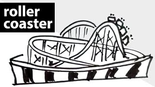 How to draw a roller-coaster ? drawing, sketch, art lessons, quick draw  lessons for kids