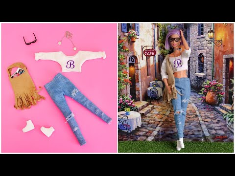 How to Make Barbie Clothes DIY Doll Dress Crafts - ropa de muñecas - poupée vêtement