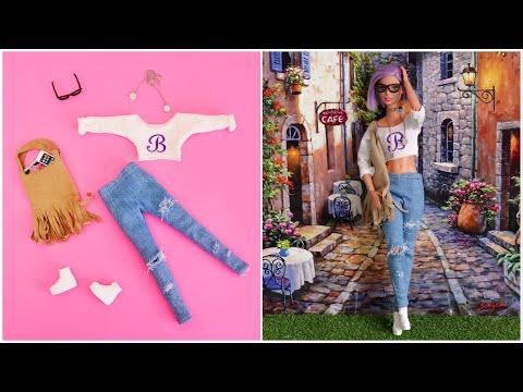 How to Make Barbie Clothes DIY Doll Dress Crafts - ropa de muñecas - poupée vêtement