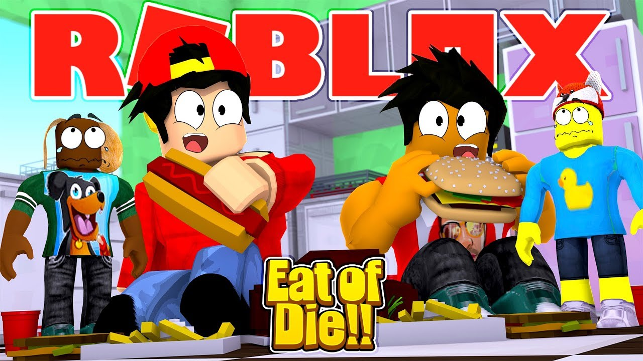 Playing The Funniest Roblox Game With My Wife Eat Or Die Roblox Eat Or Die Who Is The Fattest Youtube