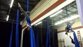 Single Star drop ~ aerial silks practice