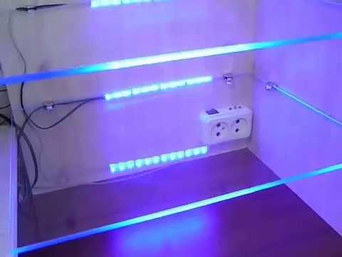 Стеклянные полки с LED подсветкой самодельные