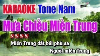 Mưa Chiều Miền Trung Karaoke   Tone Nam - Nhạc Sống Thanh Ngân
