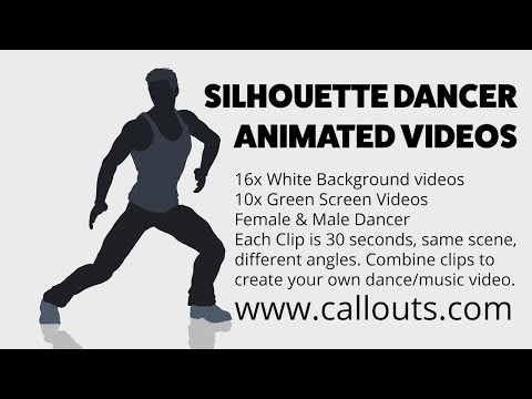 Silhouette Dancer Animated Background Videos White/Green Screen