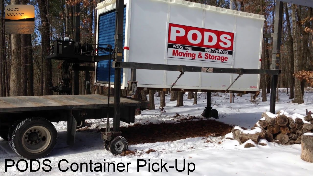 PODs Storage Container Pickup Podzilla Hydraulic Lift YouTube