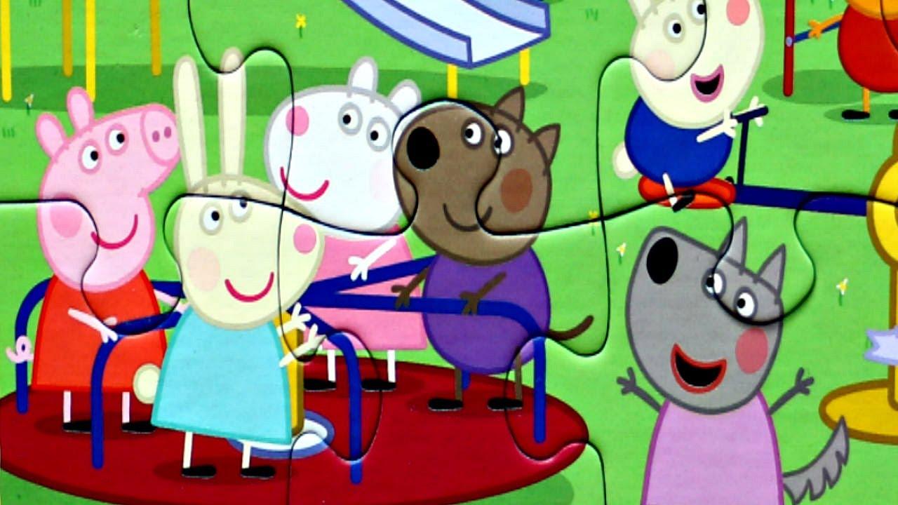 Свинка Пеппа и ДРУЗЬЯ на карусели собираем пазлы для детей с героями мультика свинка пеппа