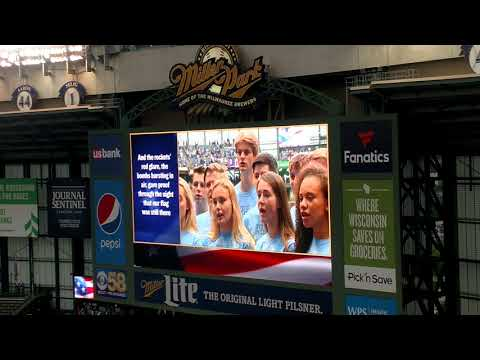 Lakeside Lutheran High School Accapella Choir singing the National Anthem prior to Brewers Cubs game