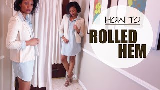 how to add rolled t shirt hem to old jean dress   easy clothes transformation ep 3   blueprintdiy