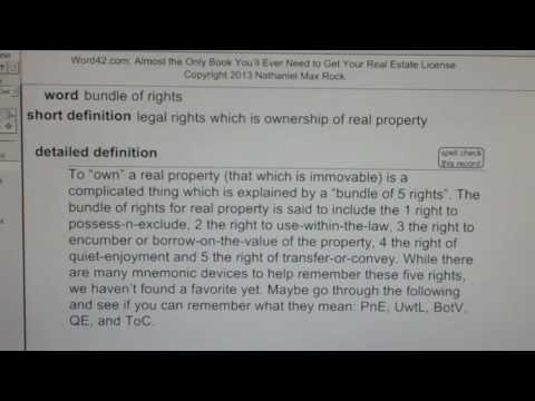 bundle of rights CA Real Estate License Exam Top Pass Words VocabUBee.com