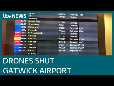 Gatwick Airport remains shut as more drones spotted | ITV News