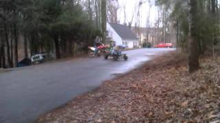 Go kart donuts on asphalt