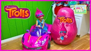 the biggest surprise egg opening trolls ride on toy dolls branch poppy trolls toys surprises