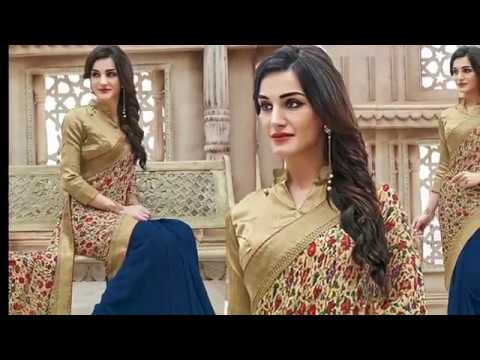 Designer Sarees Designs | Latest Half n Half Saree Style Best Indian Sari Blouse - Designers And You