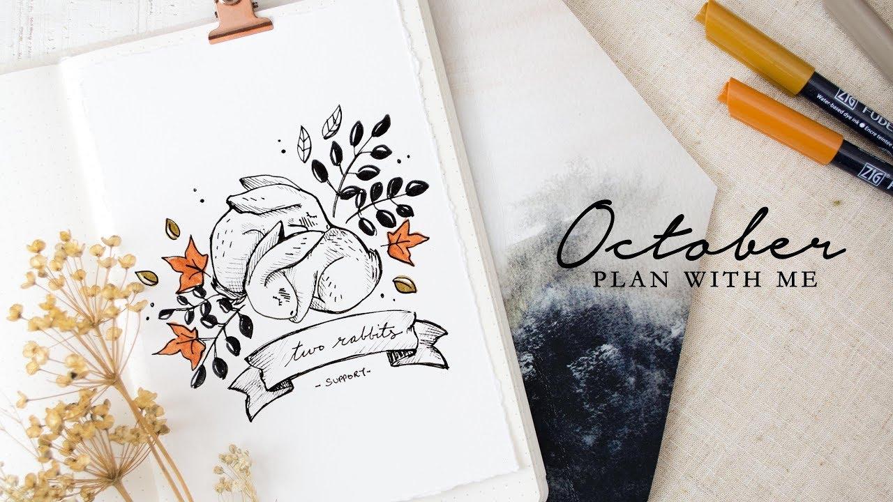 Plan with me october 2018 bullet journal setup pumpkin for Plan me