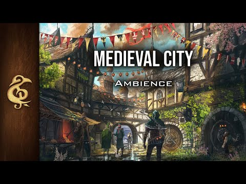 🎧 RPG / D&D Ambience - Medieval City | People, Market, Animals, Traders, Immersive, Realistic