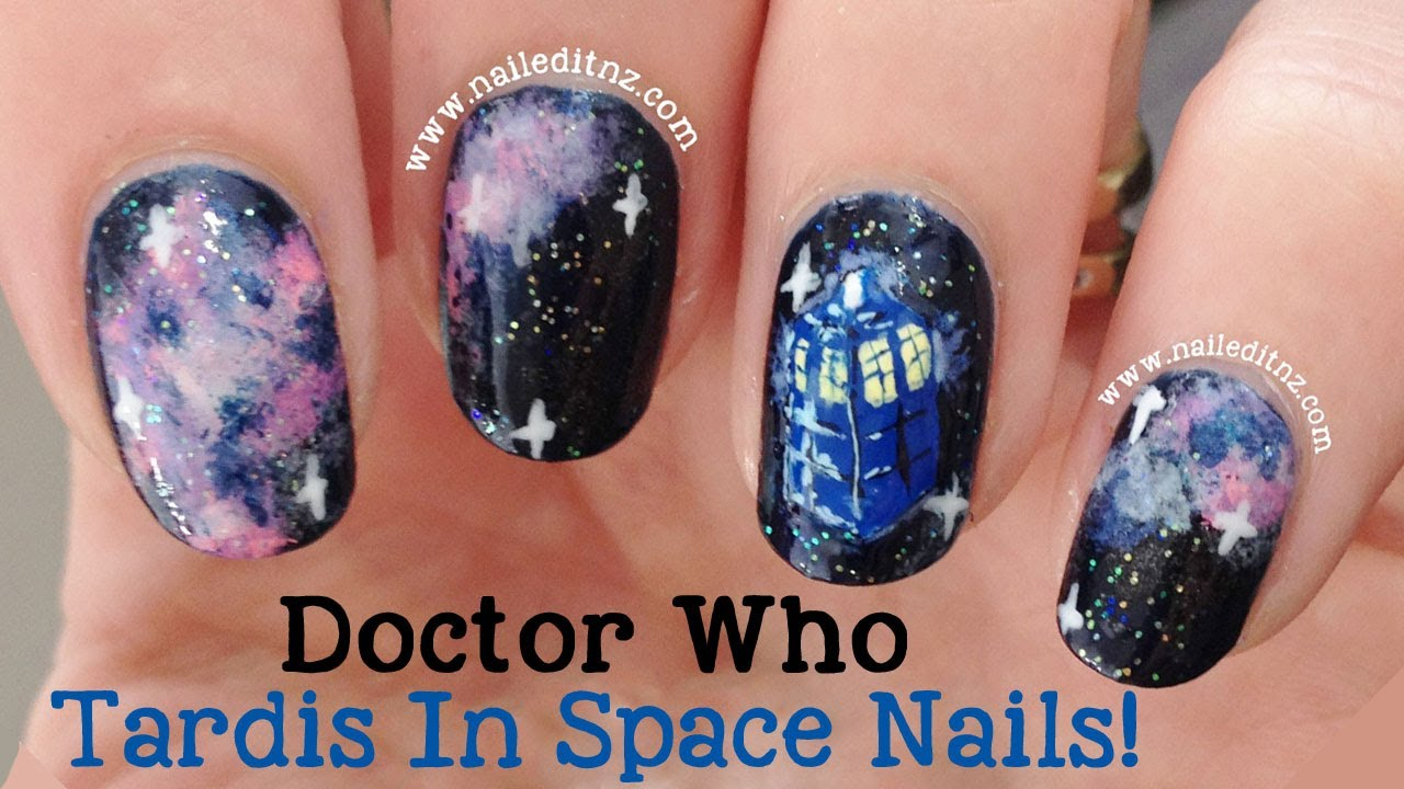 Doctor who nail art tardis in space youtube prinsesfo Gallery