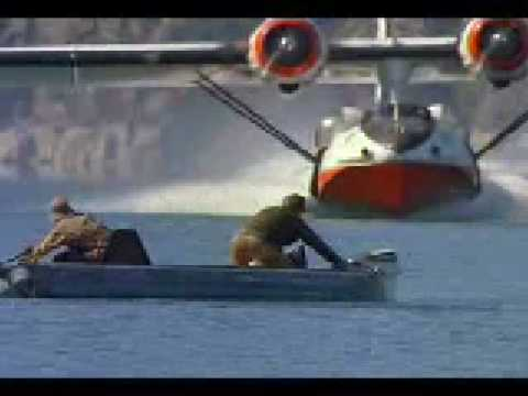 SPECTACULAR WATER PLANE (CATALINA) NEARLY CUTS FISHERMENS HEADS OFF