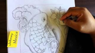 Drawing tattoo flash designs Japanese style coi fish half sleeve